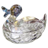 Jeanette Glass Company Figural Clear Glass Covered Duck Dish or Nite Light Quack Quack