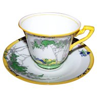 Deco Era China Silver Birch Adderley Ware Tea Cup Saucer Set Made in England Hand Painted