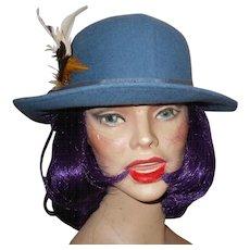 A Stylish Vintage Blue SPLENDORA Felt Canadian  Hat by M'sieu Leon Montreal Canada