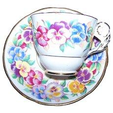 A Charming Floral Flower Handle Tea Cup Sauce Set VIOLA Royal Stafford English Bone China