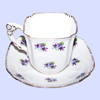 Pretty Floral Flower Handle Tea Cup Saucer Set Sweet Violets Royal Stafford Bone China Made in England