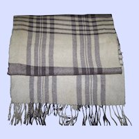 100 % Camel Hair Plaid Fringed Scarf Made in West Germany
