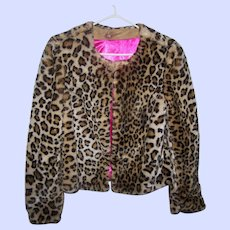 Pretty Gently Used Faux Fur  Spotted  Wild Cat Ladies  Fashion Jacket