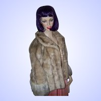Stunning Vintage Faux Fur Caplet Cape with Jacket Front Style Designer Glenoit Made in USA