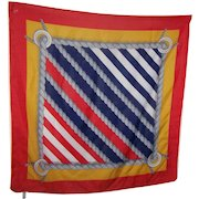 100 % Polyester Made in Italy Nautical Themed Flag Fashion Scarf Wearable ART