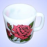 Vintage Language of Flowers Milk Glass Rose Themed  Glasbake Mug