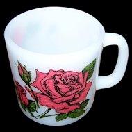 Vintage Language of Flowers Milk Glass Rose Themed  Glasbake Mug