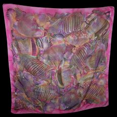 Tropical Fish Themed 100 % Polyester Ladies Fashion Accessory Scarf Made in Italy