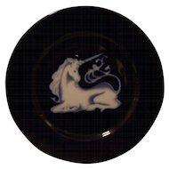 Vintage Cobalt Blue TAKAHASHI San Francisco Unicorn Plate in Glaze
