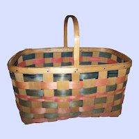A Vintage  Woven Stripe  Split Splint Gathering Basket Home Decor Accent