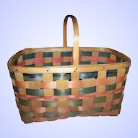 A Vintage  Woven Stripe  Split Splint Gathering Basket Home Decor Accent