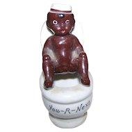 An Old  Ceramic Black AMERICANA Figurine Boy on Toilet  YOU-R-NEXT Japan Smoker Ashtray