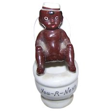 An Old  Ceramic Black AMERICANA Figurine Boy on Toilet  YOU-R-NEXT Japan Smoker Ashtray