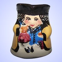 Charming Vintage Hand Painted  Glazed Pottery Small Toby Jug Home Decor Accent