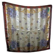 Large Floral Themed Sheer Panel Ladies Fashion Accessory Scarf Tag States Hand Made Silk