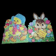 4 Sweet Vintage Printed in U.S.A. Colorful Easter Diecut Heavy Paper Decorations
