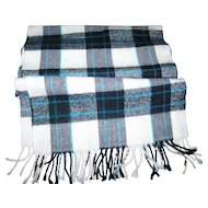 A Lovely Plaid Fringed Scarf By Dana Ashley Cashmyarn 100 % Acrylic