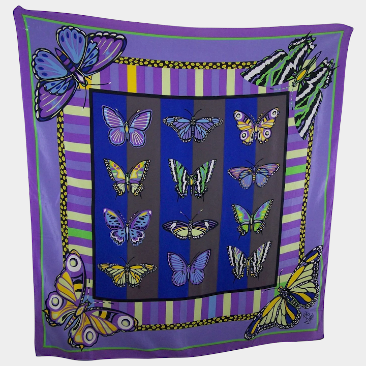 5d0cdcd321f Stunning SIlk Scarf Butterfly Theme Designer Signed Bob Mackie Wearable ART