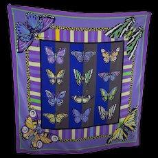 Stunning SIlk Scarf Butterfly Theme Designer Signed Bob Mackie Wearable ART