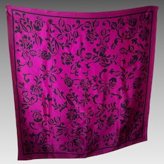 A Decorative Purple and Black Silk Scarf  Designer  Signed ECHO