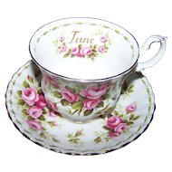 Pretty Rose Flower of the Mother Series JUNE Tea Cup Saucer Set Royal Albert  Bone China England