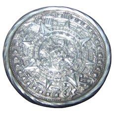 Mid-Century 925 Sterling Silver Mayan Aztec  Calendar Style Pin Brooch Pendant Tane TANE ORFEVRES Hallmark Mexico RAG