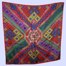 Colorful Cheerful African Quilt Pattern  Silk Scarf Designer Signed Echo