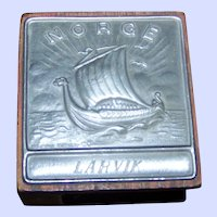 Collectible Vintage Wood and Pewter Metal NORGE  Larvik  Viking Ship Match Box  Holder