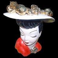 Large Glamour Girl Carmen Miranda Inspired Head Vase Planter Golden Fruit on Hat AS IS