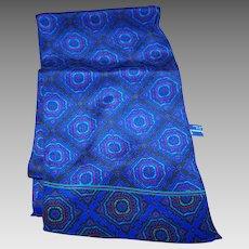 Lovely Long  Decorative Print 100 % Silk Scarf by Designer Ginnie Johannsen Inc.