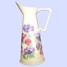 Vintage E Radford Pottery England  Hand Painted Floral Pitcher Vase