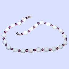Pretty Molded Milk Glass Rose Bead and Purple Amethyst Glass Bead Necklace