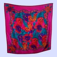 Designer Signed Liz Claiborne Silk Floral Pattern Scarf Wearable ART