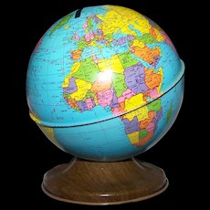 Charming Vintage Small  Tin Litho World Globe Bank By Ohio ART Bryan Ohio USA