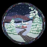 Charming Hand Hooked Winter Village Scene Seat Cover or Table Rug