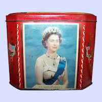 Vintage Gray Dunn Biscuit  Advertising Tin Litho Canister 1959 The Opening of St. Lawrence Seaway Queen Elizabeth