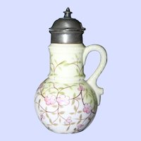 OK  Pat JAN 229 84  Hand Painted Milk Glass Floral Maple Syrup Pitcher  Jug with Pewter Finger Lid