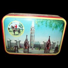 Advertising Blue Bird Toffee Tin Litho Box  Canadian Houses Parliament RCMP on Horse Canadian Views