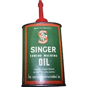 A Collectible Vintage Singer Sewing Machine Oil  Advertising Tin Litho Can Sewing Machine Oil