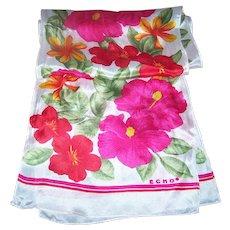 Pretty Tropical Flower Theme Long Rectangular Silk Scarf Designer Signed ECHO