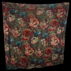 Beautiful Floral Chintz Silk Scarf Designer Signed Club 7 ECHO Wearable ART