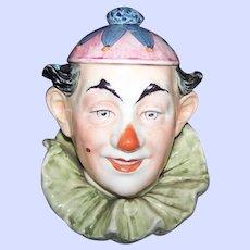 An Early  German Austrian Figural Majolica Style  Clown Tobacco Jar  Humidor