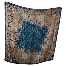 Vintage Designer Signed Liz Claiborne Blue Golden White  Gold Sheer Damask Scarf