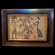 Vintage Framed Print Spring Blessings Artist Unknown Pennsylvania German Home Decor ART