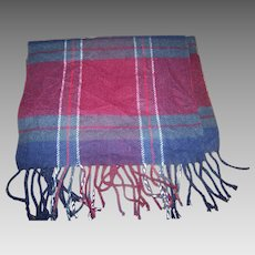 A Soft Gently Used Plaid Cashemere Scarf with Fringes by Royal Rossi