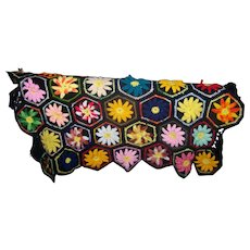 Lovely Cheerful Colorful Hand Crochet Small Table Topper Floral Themed