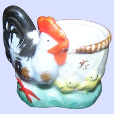 Sweet Vintage Ceramic Hen Chick Easter Egg Cup Cache Pot Hand Painted Made in Japan
