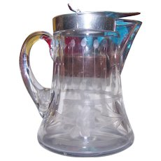 Heisey Etched Floral Themed G;ass Maple Syrup  Pitcher Jug