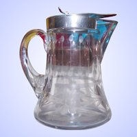 Heisey Etched Floral Themed Glass Maple Syrup  Pitcher Jug
