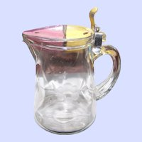 Vintage Etched Glass Maple SYrup Jug Pitcher  Pat Nov 3 1914 No. 1.115.768 Floral Theme